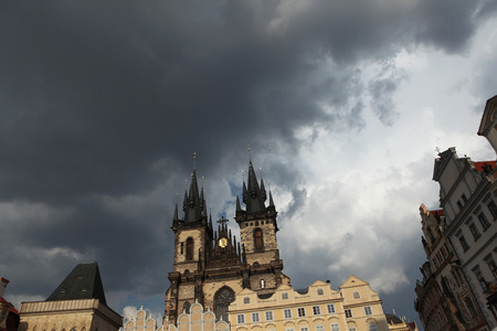 old town square: Tyn Church in Old Town Square in Prague, Czech Republic. Stock Photo