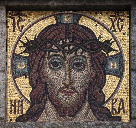 jesus face: Jesus Christ mosaic on an abandoned mausoleum in Western Bohemia, Czech Republic.