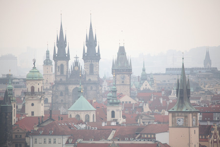 stare mesto: Tyn Church and the Old Town Hall in Old Town Square viewed from Petrin Hill in Prague, Czech Republic. Stock Photo