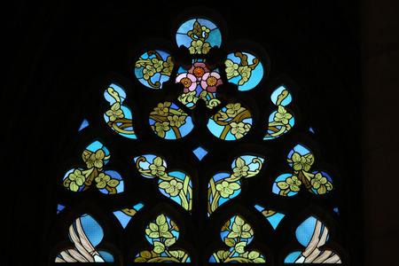 barbara: Art Nouveau floral pattern. Stained glass window in Saint Barbara Church in Kutna Hora, Czech Republic.