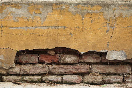 Old wall with cracked plaster. Background texture. photo