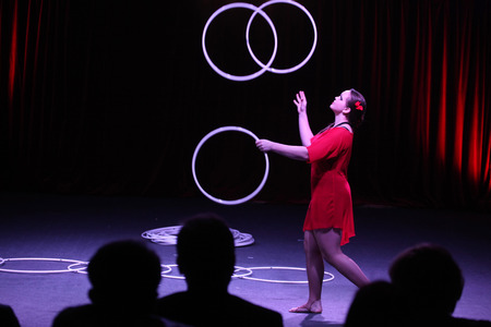 alexandra: DRESDEN, GERMANY - APRIL 1, 2014: Hula hoop juggler Alexandra Soboleva (Ukraine) performs with Russian Grand Circus in Dresden, Germany, on April 1, 2014. Editorial