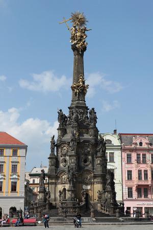 unesco in czech republic: OLOMOUC, CZECH REPUBLIC - APRIL 29, 2014: Holy Trinity Column, a famous Baroque plague column listed as the UNESCO world heritage site, in Olomouc, Czech Republic. Editorial