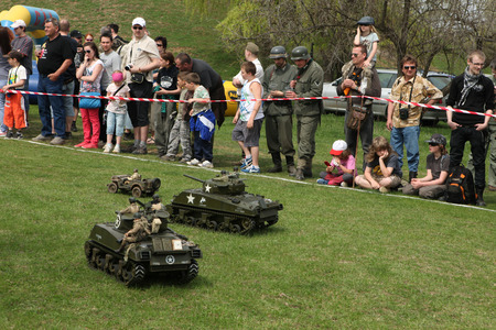 major battle: ORECHOV, CZECH REPUBLIC - APRIL 27, 2013: Scale models attend the re-enactment of the Battle of the Bulge (1944) in Orechov near Brno, Czech Republic. The Battle of the Bulge in December 1944 was a major German offensive launched through the Ardennes in B
