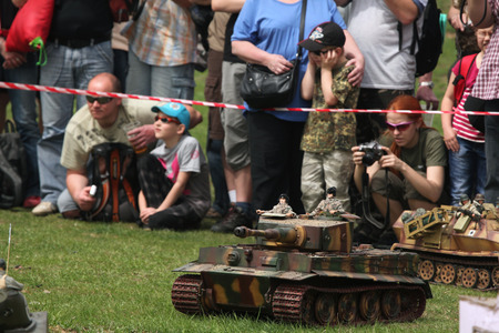 offensive: ORECHOV, CZECH REPUBLIC - APRIL 27, 2013: Scale models attend the re-enactment of the Battle of the Bulge (1944) in Orechov near Brno, Czech Republic. The Battle of the Bulge in December 1944 was a major German offensive launched through the Ardennes in B