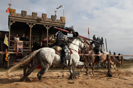 knight: MILOVICE, CZECH REPUBLIC - OCTOBER 23, 2013: Medieval jousting competition during the filming of the new movie The Knights directed by Carsten Gutschmidt near Milovice, Czech Republic.