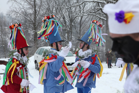 ceremonial: VITANOV, CZECH REPUBLIC - JANUARY 26, 2013: People attend the Masopust Carnival, a traditional ceremonial Shrovetide door-to-door procession in Vitanov near Pardubice, Czech Republic.