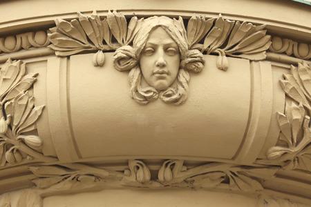 bohemia: Art Nouveau mascaron in Hradec Kralove, East Bohemia, Czech Republic. Stock Photo