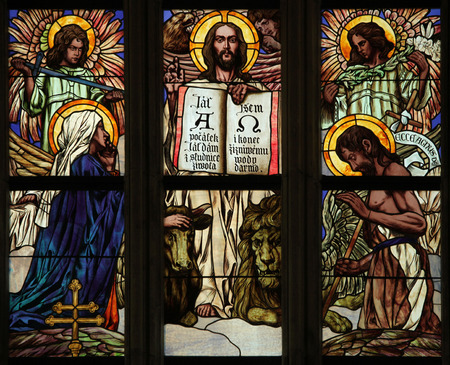 our vision: Last Judgment. Art Nouveau stained glass window in Saint Barbara Church in Kutna Hora, Czech Republic.
