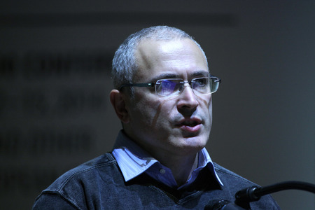 political prisoner: PRAGUE, CZECH REPUBLIC - OCTOBER 12, 2014: Russian former oil tycoon and political prisoner Mikhail Khodorkovsky speaks at the Forum 2000 conference in Prague, Czech Republic. Editorial