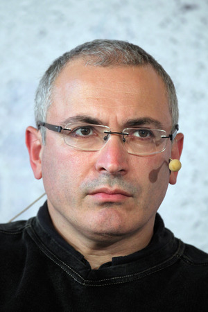 political prisoner: PRAGUE, CZECH REPUBLIC - OCTOBER 13, 2014: Russian former oil tycoon and political prisoner Mikhail Khodorkovsky attends the Forum 2000 conference in Prague, Czech Republic.