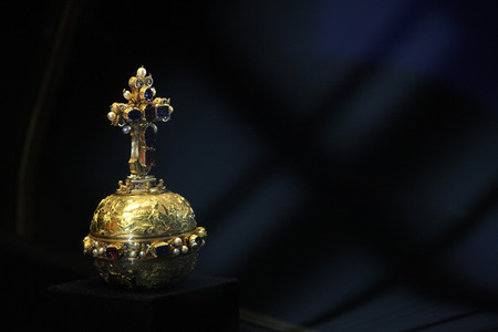 displayed: PRAGUE, CZECH REPUBLIC - MAY 10, 2013: Royal Apple displayed at the exhibition of the Bohemian Crown Jewels in Prague, Czech Republic.