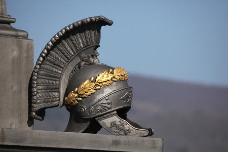 Ancient Roman helmet. Memorial to Russian soldiers fallen in the Battle of Kulm (1813) in North Bohemia, Czech Republic.