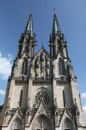neo gothic: Saint Wenceslas Cathedral in Olomouc, Czech Republic. Stock Photo