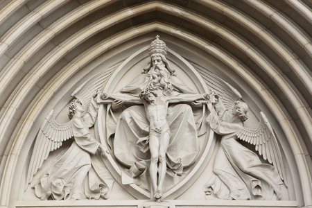 olomouc: The Holy Trinity. Gothic relief in Saint Wenceslas Cathedral in Olomouc, Czech Republic.