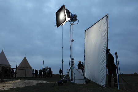 outside shooting: MILOVICE, CZECH REPUBLIC - OCTOBER 23, 2013: Filming of the new movie The Knights directed by Carsten Gutschmidt near Milovice, Czech Republic.