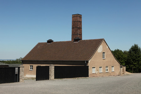 concentration camp: WEIMAR, GERMANY - JUNE 21, 2013: Crematorium in the Buchenwald concentration camp near Weimar, Germany.