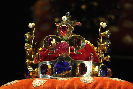 regalia: PRAGUE, CZECH REPUBLIC - MAY 10, 2013: Crown of Saint Wenceslas displayed at the exhibition of the Bohemian Crown Jewels in Prague, Czech Republic. Editorial