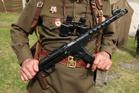 re enactment: ORECHOV, CZECH REPUBLIC - APRIL 27, 2013: Soviet military decoration on the uniform of a Soviet soldier seen during the re-enactment of the Battle at Orechov (1945) near Brno, Czech Republic. The Battle at Orechov in April 1945 was the biggest tank battle Editorial