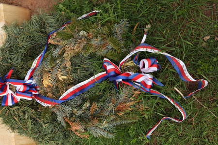 firry: Firry wreath decorated with Czech national ribbons.