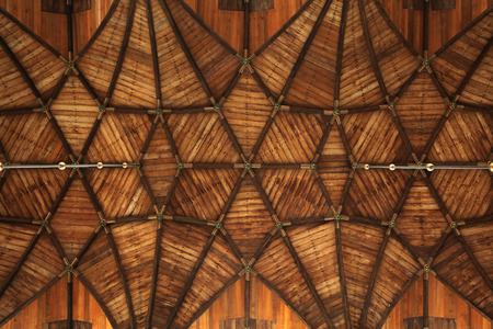 north holland: Gothic wooden vaulted ceiling in the Grote Kerk (Great Church) on the Grote Markt in Haarlem, North Holland, Netherlands.