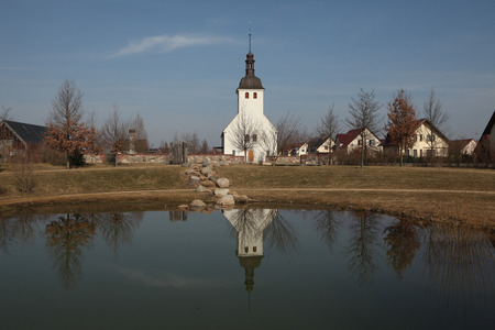 Evangelical church in the Sorbian village of Neu Horno near Forst in Lower Lusatia, Brandenburg, Germany. photo