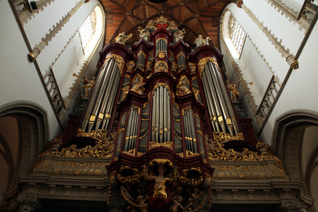 north holland: HAARLEM, NETHERLANDS - AUGUST 9, 2012: Pipe organ in the Grote Kerk (Great Church) on the Grote Markt in Haarlem, North Holland, Netherlands.