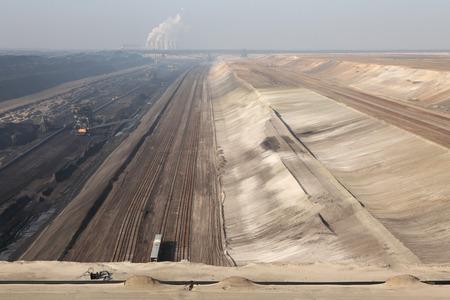 lower lusatia: COTTBUS, GERMANY - MARCH 13, 2011: Open-pit coal mining Jaenschwalde near Cottbus, Lower Lusatia, Brandenburg, Germany. Editorial