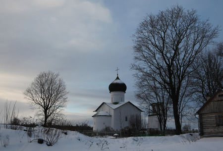 prophet: Russian winter. Church of Saint Elijah the Prophet at the Vybuty Pogost near Pskov, Russia. Stock Photo