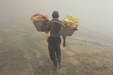 bare chested: KAWAH IJEN, INDONESIA - AUGUST 8, 2011: Miner carries baskets with sulphur in the fumes of toxic volcanic gas from the sulphur mines in the crater of the active volcano of Kawah Ijen, East Java, Indonesia.