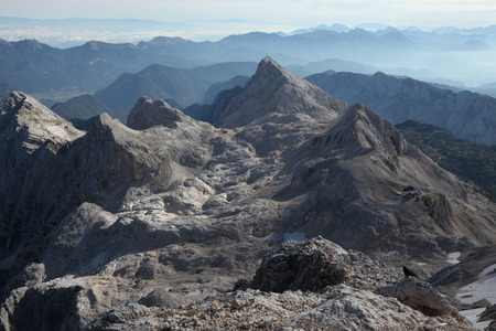 julian: View from the summit of Mount Triglav (2,864 m) in the Julian Alps, Slovenia. Stock Photo
