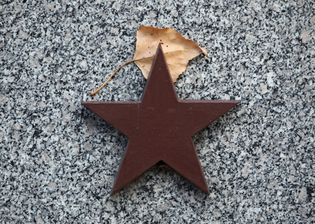 symbol victim: Red star and autumn birch leaf at the Soviet War Memorial with graves of Soviet soldiers fallen in the last days of World War II at the Olsany Cemetery in Prague, Czech Republic.