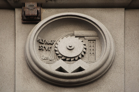 allegory: Allegory of Milling Industry. Building decoration at Bubenecska Street in Prague, Czech Republic.