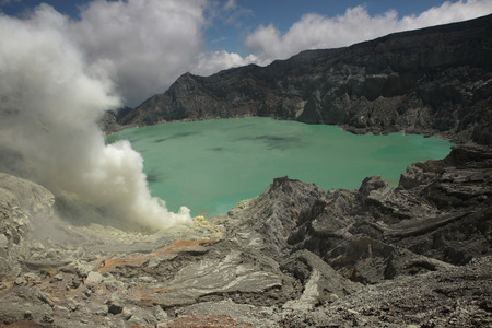 sulphuric acid: Acid lake in the crater of the active volcano of Kawah Ijen, East Java, Indonesia.