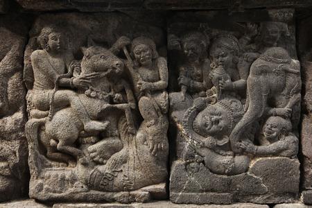 bas relief: Stone bas relief from the Prambanan Temple near Yogyakarta, Central Java, Indonesia. Stock Photo