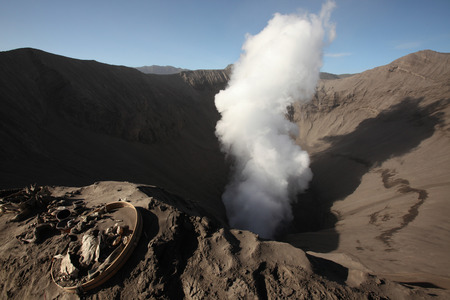 Smoking crater of Mount Bromo (2,329 m) in East Java, Indonesia. photo