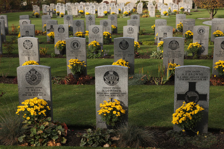 allied: PRAGUE, CZECH REPUBLIC - NOVEMBER 9, 2012: Commonwealth War Cemetery with graves of UK and Allied soldiers fallen during World War II at the Olsany Cemetery in Prague, Czech Republic. Stock Photo