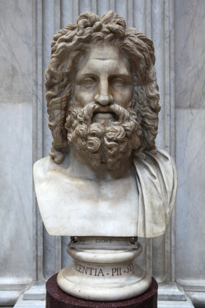 pio: ROME, ITALY - DECEMBER 19, 2011: Roman marble bust of Zeus displayed in the Museo Pio Clementino of the Vatican Museums in Rome, Italy. Editorial
