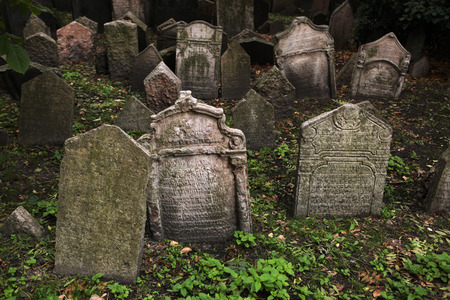 stone tombstone: Abandoned tombstones at the Old Jewish Cemetery in Prague Czech Republic. Stock Photo