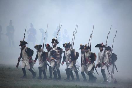 austerlitz: TVAROZNA, CZECH REPUBLIC  DECEMBER 3, 2011: Re-enactors uniformed as French soldiers attend the re-enactment of the Battle of Austerlitz (1805) near Tvarozna, Czech Republic. Editorial