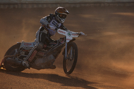 prix: PARDUBICE, CZECH REPUBLIC - OCTOBER 14, 2012: Speedway rider competes on track during the Golden Helmet Prix in Pardubice, Czech Republic.