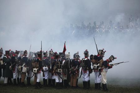 austerlitz: TVAROZNA, CZECH REPUBLIC ? DECEMBER 3, 2011: Re-enactors uniformed as French soldiers attend the re-enactment of the Battle of Austerlitz (1805) near Tvarozna, Czech Republic.