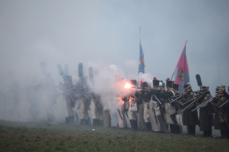 reenactor: TVAROZNA, CZECH REPUBLIC ? DECEMBER 3, 2011: Re-enactors uniformed as Russian soldiers attend the re-enactment of the Battle of Austerlitz (1805) near Tvarozna, Czech Republic.