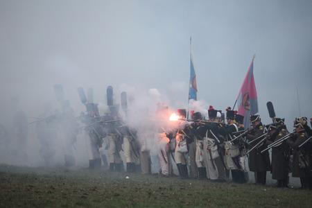 TVAROZNA, CZECH REPUBLIC ? DECEMBER 3, 2011: Re-enactors uniformed as Russian soldiers attend the re-enactment of the Battle of Austerlitz (1805) near Tvarozna, Czech Republic.