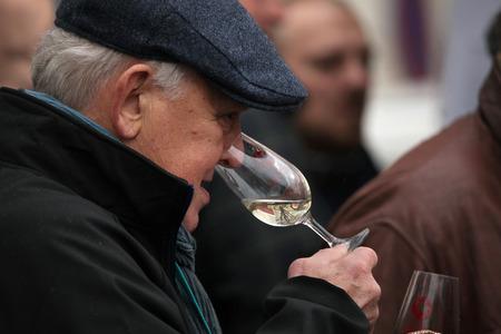 tastes: PRAGUE, CZECH REPUBLIC - NOVEMBER 11, 2012: Elderly man tastes young wine during the celebration of Saint Martin Day in Prague, Czech Republic.