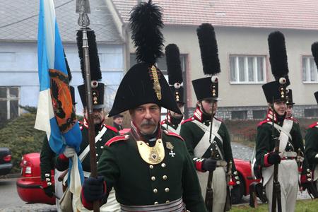 reenactment: TVAROZNA, CZECH REPUBLIC ? DECEMBER 3, 2011: Re-enactors uniformed as Russian soldiers attend the re-enactment of the Battle of Austerlitz (1805) near Tvarozna, Czech Republic.