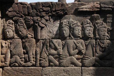 ascetic: Ascetic men. Stone bas relief from the Borobudur Temle in Central Java, Indonesia.
