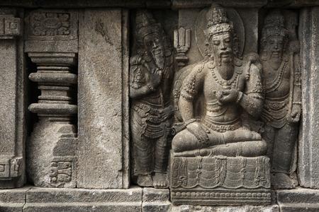 bas relief: Stone bas relief from the Prambanan Temple near Yogyakarta Central Java Indonesia.