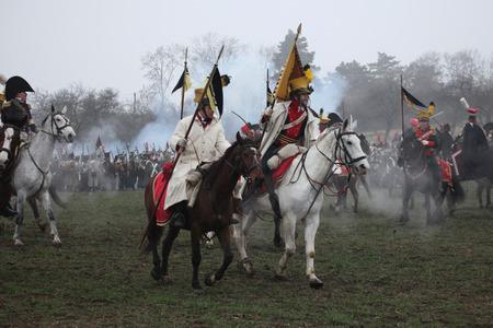 austerlitz: TVAROZNA CZECH REPUBLIC  DECEMBER 3 2011: Reenactors uniformed as Austrian soldiers attend the reenactment of the Battle of Austerlitz 1805 near Tvarozna Czech Republic.