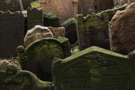tombstones: Abandoned tombstones at the Old Jewish Cemetery in Prague Czech Republic. Editorial